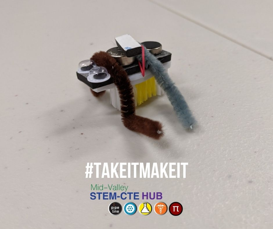 Photo of our first #TakeItMakeIt activity where kids are building bristlebots